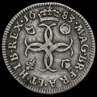 1683 Charles II Early Milled Silver Maundy Fourpence Reverse