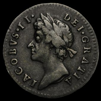 1687 James II Early Milled Silver Maundy Threepence Obverse