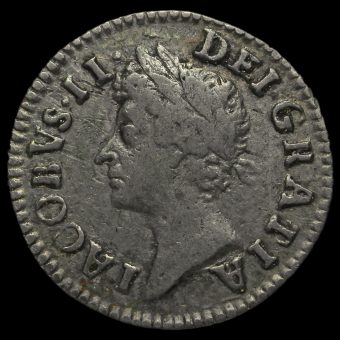 1687 James II Early Milled Silver Maundy Twopence Obverse