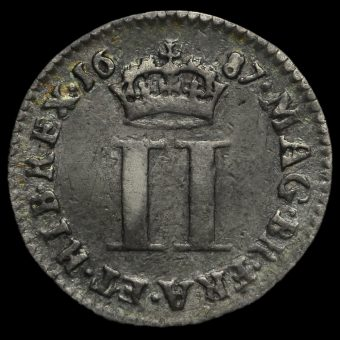 1687 James II Early Milled Silver Maundy Twopence Reverse