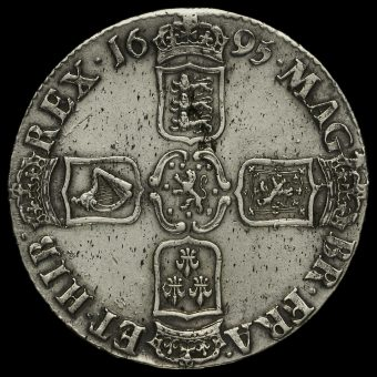1695 William III Early Milled Silver Octavo Crown Reverse