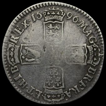 1696 William III Early Milled Silver Shilling Reverse