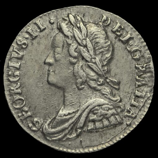 1732 George II Early Milled Silver Maundy Penny Obverse