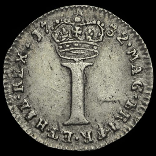 1732 George II Early Milled Silver Maundy Penny Reverse
