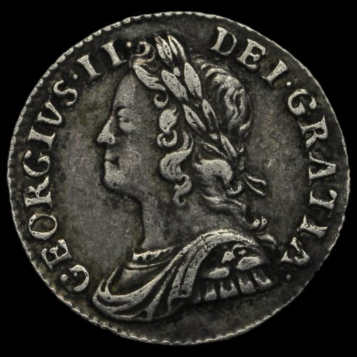 1743 George II Early Milled Silver Maundy Twopence Obverse