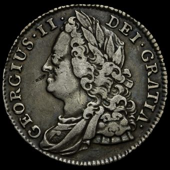 1743 George II Early Milled Silver Sixpence Obverse