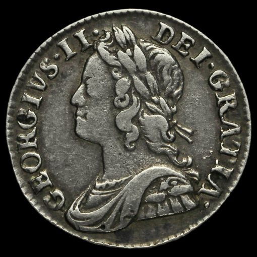 1756 George II Early Milled Silver Maundy Twopence Obverse