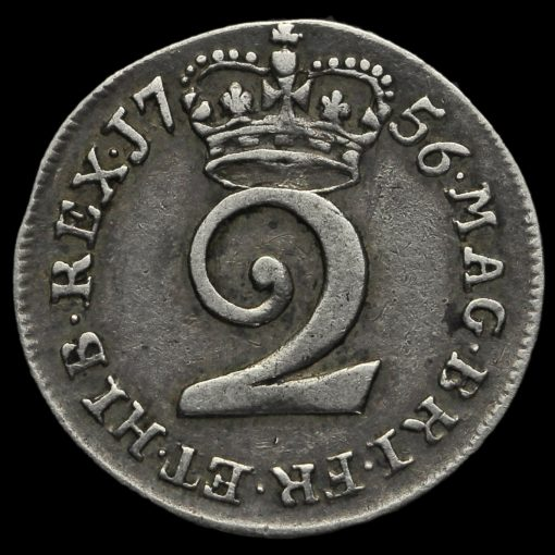 1756 George II Early Milled Silver Maundy Twopence Reverse