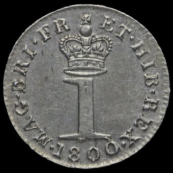 1800 George III Early Milled Silver Maundy Penny Reverse
