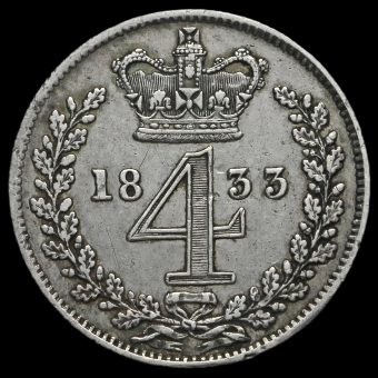 1833 William IV Milled Silver Maundy Fourpence Reverse
