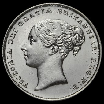 1839 Queen Victoria Young Head Silver Shilling Obverse