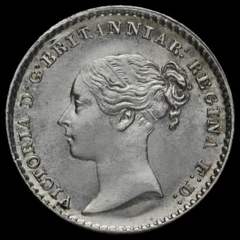 1842 Queen Victoria Young Head Silver Maundy Penny Obverse