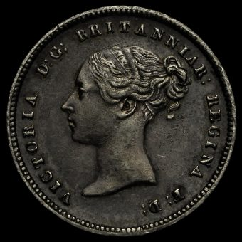1843 Queen Victoria Young Head Silver Maundy Fourpence Obverse