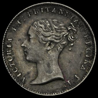 1845 Queen Victoria Young Head Silver Threepence Obverse