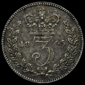 1845 Queen Victoria Young Head Silver Threepence Reverse