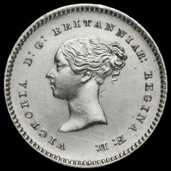 1845 Queen Victoria Young Head Silver Maundy Twopence Obverse