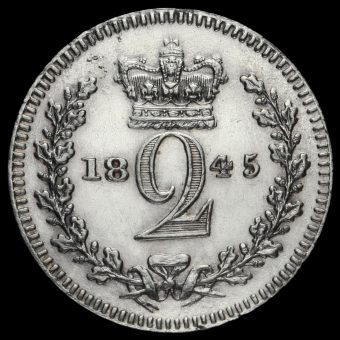 1845 Queen Victoria Young Head Silver Maundy Twopence Reverse