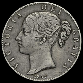 1847 Queen Victoria Young Head Silver XI Crown Obverse
