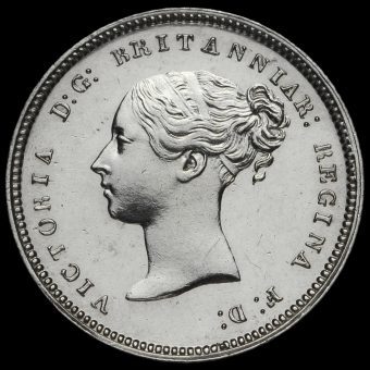 1848 Queen Victoria Young Head Silver Maundy Fourpence Obverse