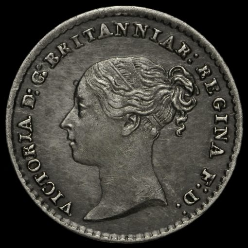 1859 Queen Victoria Young Head Silver Maundy Penny Obverse