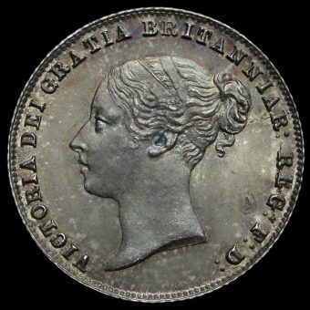 1860 Queen Victoria Young Head Silver Sixpence Obverse