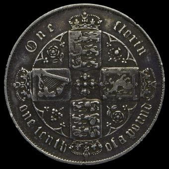 1865 Queen Victoria Gothic Florin Reverse
