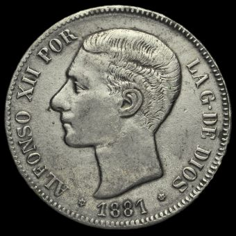 Spain 1881 Alfonso XII Silver 5 Pesetas Obverse