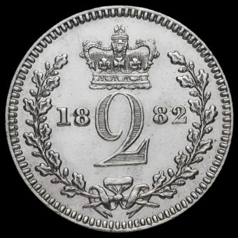 1882 Queen Victoria Young Head Silver Maundy Twopence Reverse