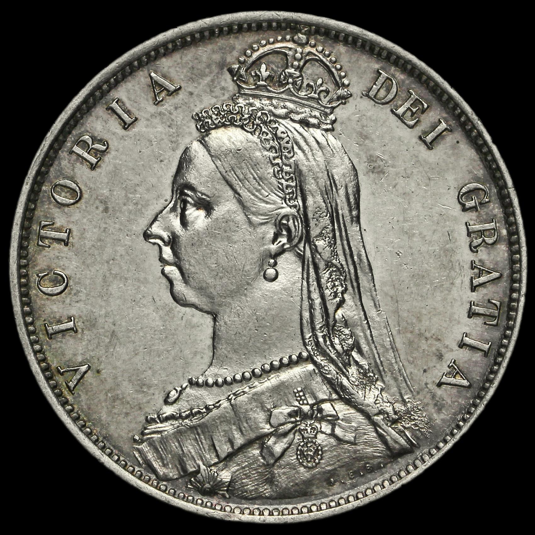 1887 Queen Victoria Jubilee Head Silver Half Crown, Near EF