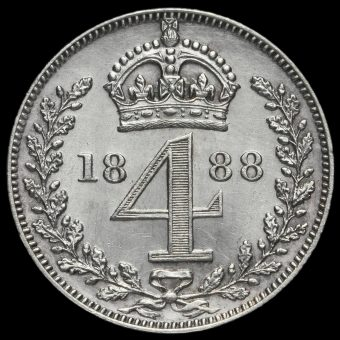 1888 Queen Victoria Jubilee Head Silver Maundy Fourpence Reverse