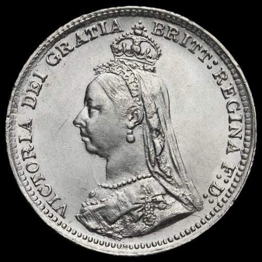 1889 Queen Victoria Jubilee Head Silver Threepence Obverse