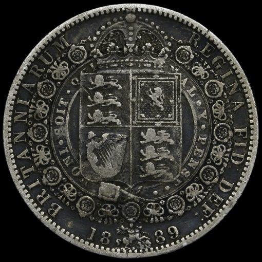 1889 Queen Victoria Jubilee HeadSilver Half Crown Reverse