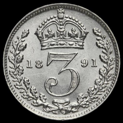 1891 Queen Victoria Jubilee Head Silver Threepence Reverse