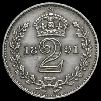 1891 Queen Victoria Jubilee Head Silver Maundy Twopence Reverse