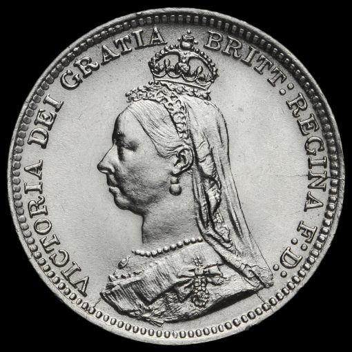 1892 Queen Victoria Silver Threepence Obverse
