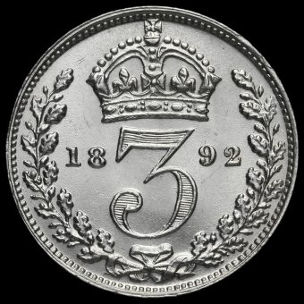 1892 Queen Victoria Silver Threepence Reverse