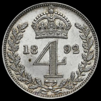 1892 Queen Victoria Jubilee Head Silver Maundy Fourpence Reverse