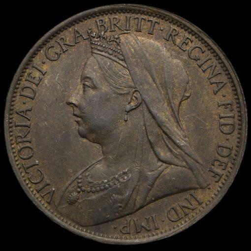 1895 Queen Victoria Veiled Head Penny Obverse