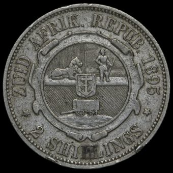 South Africa 1895 Silver 2 Shillings Reverse