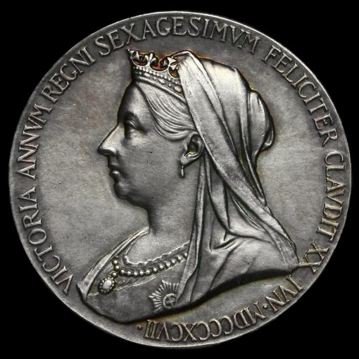 1897 Queen Victoria Official Diamond Jubilee Silver Medal Obverse