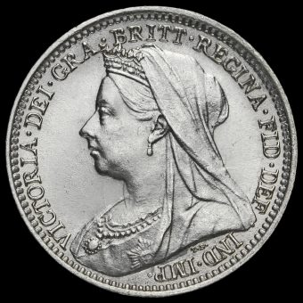 1897 Queen Victoria Veiled Head Silver Threepence Obverse