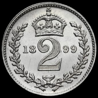 1899 Queen Victoria Veiled Head Silver Maundy Twopence Reverse