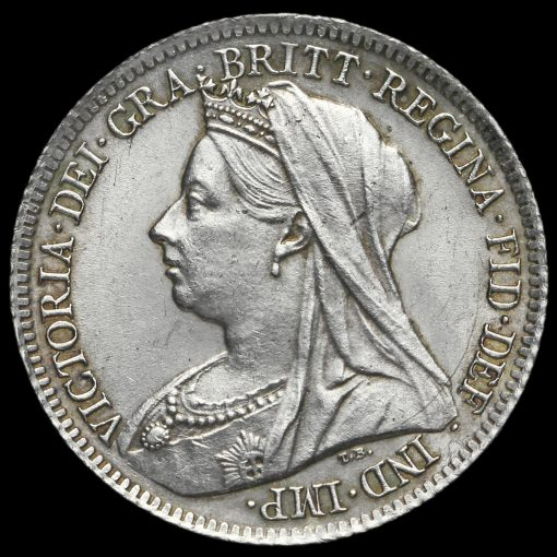 1901 Queen Victoria Veiled Head Silver Sixpence Obverse