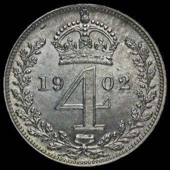 1902 Edward VII Silver Maundy Fourpence Reverse