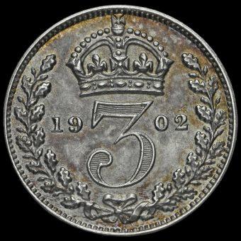 1902 Edward VII Silver Matt Proof Threepence Reverse