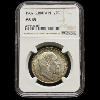 1902 Edward VII Silver Half Crown MS63