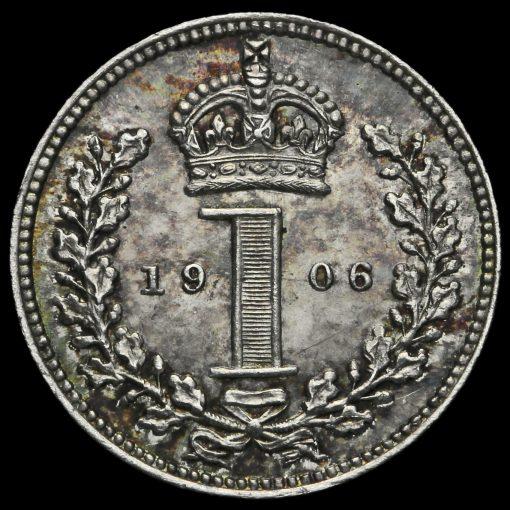 1906 Edward VII Silver Maundy Penny Reverse
