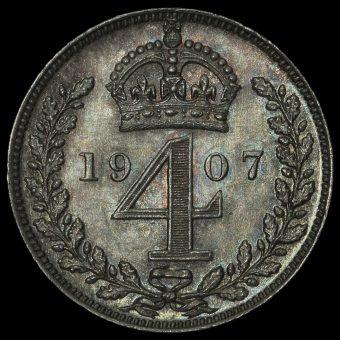 1907 Edward VII Silver Maundy Fourpence Reverse