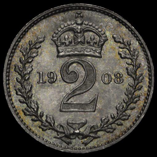 1908 Edward VII Silver Maundy Twopence Reverse