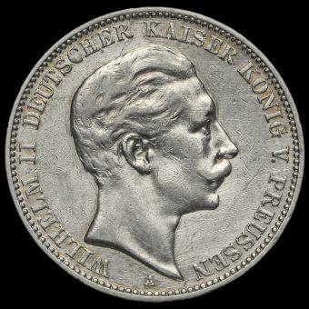 German States, Prussia Wilhelm II 1909A Silver 3 Mark Obverse